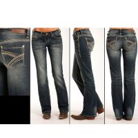 Rock and Roll Cowgirl Boyfriend Fit Womens Jeans W2-3397