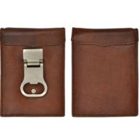 3D Belt Brown Basic Money Clip Mens w831