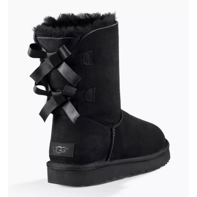 UGG Bailey Bow II Black Classic Womens Short Boots With Bows On Back 1016225 BLK