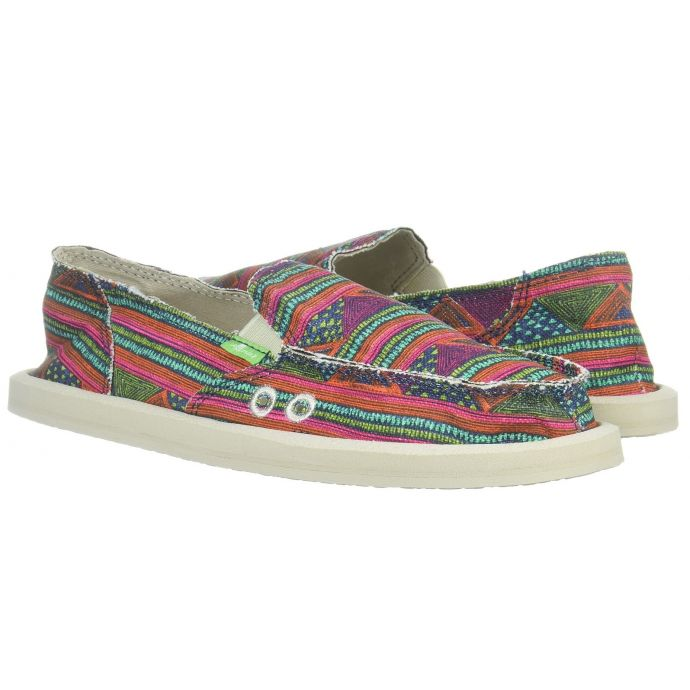 buy online fe977 dec2e Sanuk Donna Multicolor Geo Stripes Loafer Flat Comfort Casual Womens Shoes  1020251-MGST