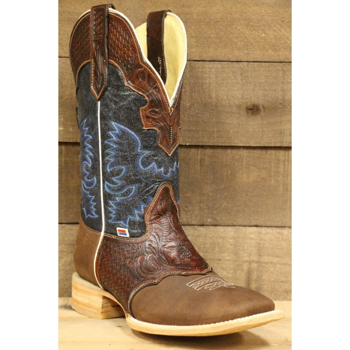 Rockin Leather Hand Tooled Overlay Brown Mens Western Boots 1101