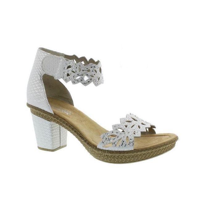 Rieker White Rabea 55 Adjustable Strap Womens Sandals 66555 80
