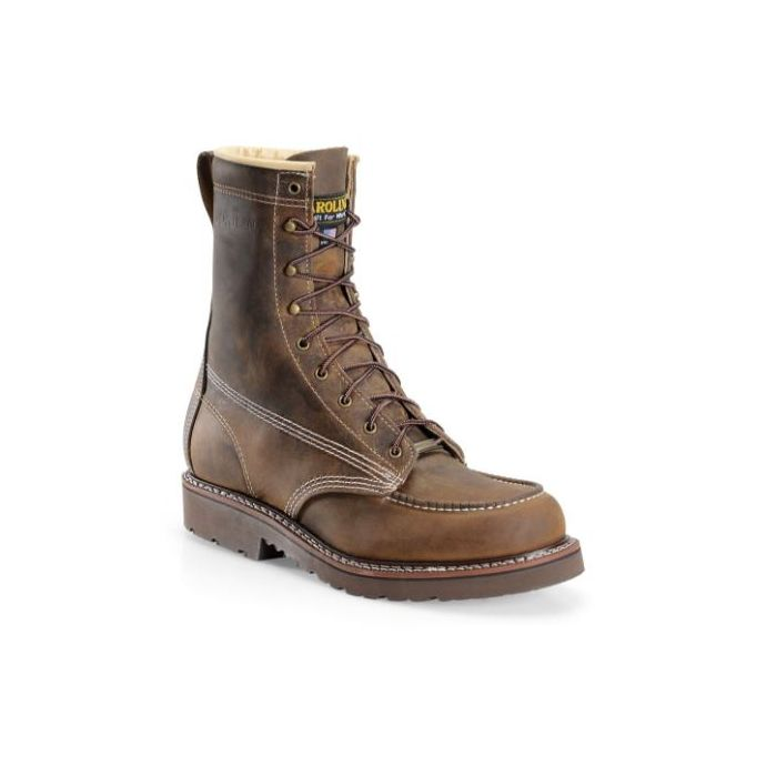 Carolina Brown Assembly Hi Domestic 8 Inch Moc Toe Mens Steel Toe Work  Boots CA7508