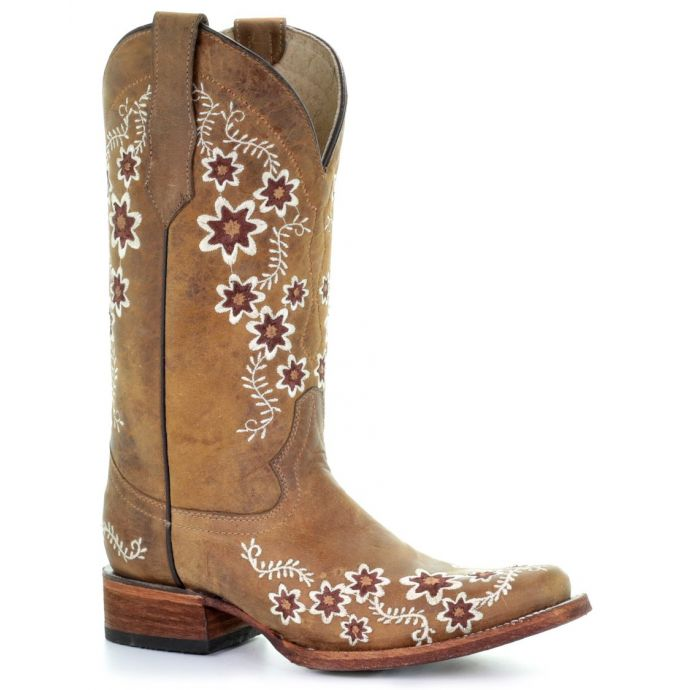 Corral Circle G Floral Embroidery Womens Square Toe Western Boots L5382