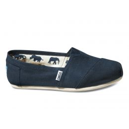 001001B07-NVY Navy Classic Canvas Slip On Ladies Toms