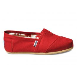 001001B07-RED Classic Canvas Slip On Ladies Toms