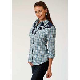 Karman Roper Turquoise/Navy/Cream Womens Long Sleeve Snap Shirts 01-050-0024-0575 BU