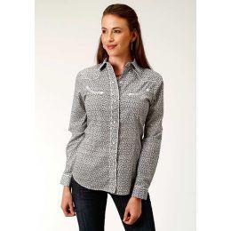 Roper Wester Shirt Womens Long Sleeve Gray Floral Print
