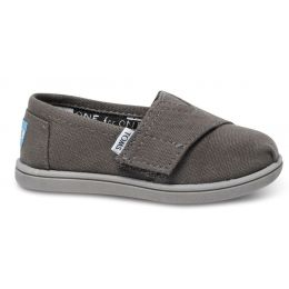 Toms Classic Slip-On Grey Canvas Kids Casual 013001D13-ASH