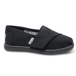 Toms Classic Tiny Velcro  Black Canvas Kids Casual 013001D13-BLK