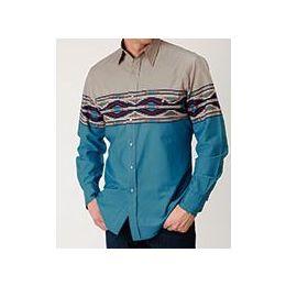 West Made By Karmen Roper Blue Long Sleeve Snap Mens Shirt 0300104310781BU