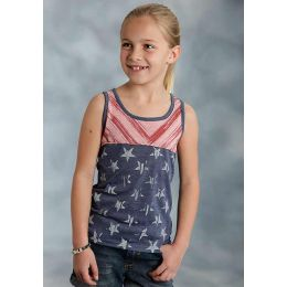 03-009-0514-2041 BU Stars & Stripes Girls Roper Tank Top