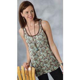 0303705142252BU Turquoise Camo Racer-Back Tank Roper Womens Shirts