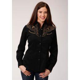 Roper Ladies Western Shirt Embroidery Black 0305000400642bl
