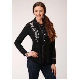 Stetston Ladies Embroidered Rose Western Shirt 0305000400650bl