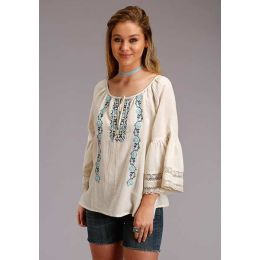 Karman Roper White Cotton Peasant Womens Blouse 03-050-0565-2043 WH