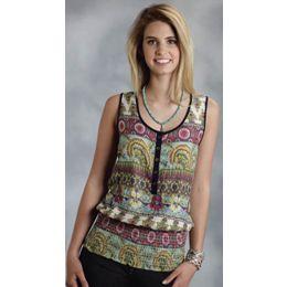 Multicolor Blouson Tank Elastic Waistband Roper Womens Shirts