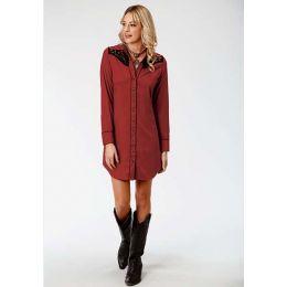 Karman Roper Red Ployester Spadex Womens Retro Long Sleeve Dress 03-057-0040-0637 RE