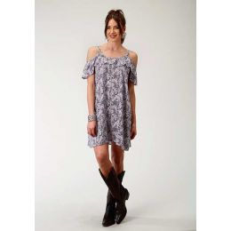 Karman Roper Paisley Mash Print Rayon Womens Dress 03-057-0590-3010 BU