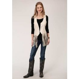 Karman Roper Cream Fitted Faux Suede Womens Western Vest 0307405396003WH