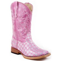 Karman/Roper Square Toe Pink Bling Girls Western 09-18-1901-28PK