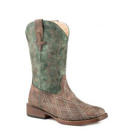 Karman Roper Diamond Checked Little Kids Western Square Toe Boots 090181900813