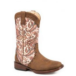 Karman Roper Pink Paisley Glitter Geo Childrens Western Boots Padded Cushioned Insole 0901819011528BR