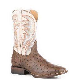 Karman Roper Tan Diesel Ostrich Print Square Toe Mens Boots 0902070178264TA