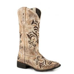 Roper Belle Antiqued & Burnished Cream Suede Womens Square Toe Western Boots 09-021-0901-2030