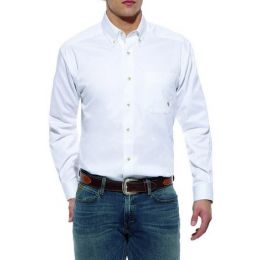 10000503 White Twill Button Down Western Long Sleeve Ariat Mens Shirts