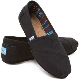 10002472 Black On Black Canvas Slip-On Casual Toms Womens Shoes