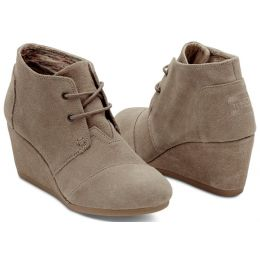 10006257 Taupe Suede Lace-Up Desert Wedge Bootie Toms Womens Shoes