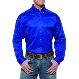 10006660 Blue Solid Twill Long Sleeve Button Down Ariat Mens Shirts