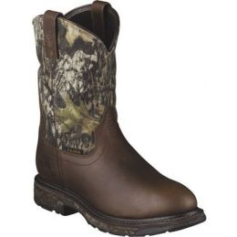 10006739 Workhog Mossy Oak Pull-On Waterproof Ariat Mens Work Boots