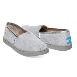 Toms Classic Slip-On Silver Glimmer Fabric Kids Casual 10007638