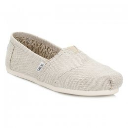 10008015 Natural Metallic Burlap Women's Slip On Toms Shoes