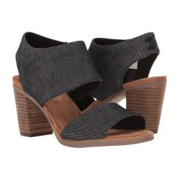 Toms Black Denim Majorca Cutout Womens Side Zip Sandals 10009809