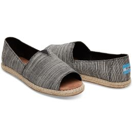 Black Microstripe Womens Toms Open Toe Espadrilles Slip On Shoes