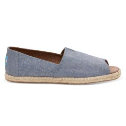 10009842 Blue Slub Chambray Womens Open Toe Espadrilles Toms Shoes