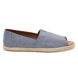 10009842 Blue Slub Chambray Womens Open Toe Espadrilles Toms Shoes