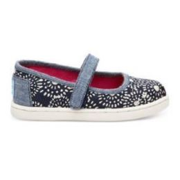 Toms Mary Jane Navy Dots Canvas Kids Casual 10010020