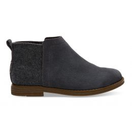 Toms Forged Iron Grey Suede Wool Youth Deia Booties 10010725