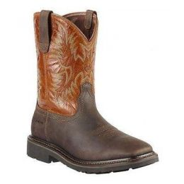 10010889 SIERRA Dark Brown Square Toe Ariat Mens Western Work Boots