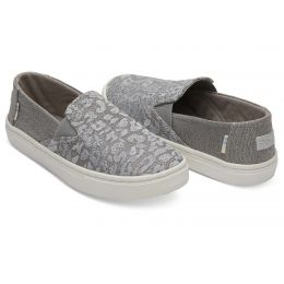 Toms Neutral Grey Cheetah Embroidery Twill Glimmer Youth Luca Slip On Shoes 10012663