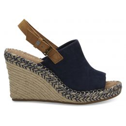 Toms Navy Suede and Leather Womens Monica Wedges 10013439-T
