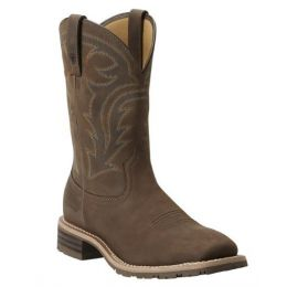 Ariat Men's Oily Distressed Brown Hybrid Rancher Waterproof Western Boot 10014067