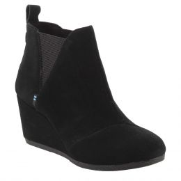 Toms Black Suede Kelsey Womens Short Ankle Booties 10014161