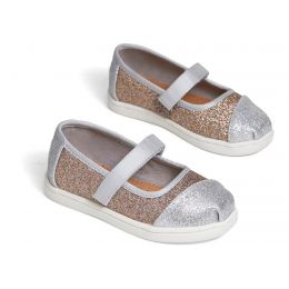 Toms Silver Gold Iridescent Glimmer Tiny Mary Jane Flats 10014253