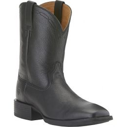 10015291 Black Leather Wide Square Toe Roper Ariat Mens Boots