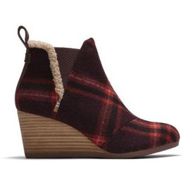 TOMS Kelsey Women's Barn Red Plaid Comfort Ankle Bootie 10015795